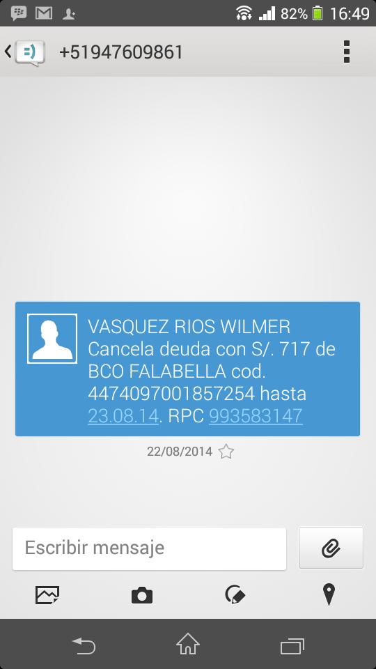 Mensaje a Wilmer Ulises Vasquez Rios por deuda impaga al Banco Falabella.
