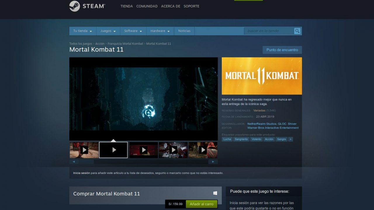 Mortal Kombat 11 en Steam