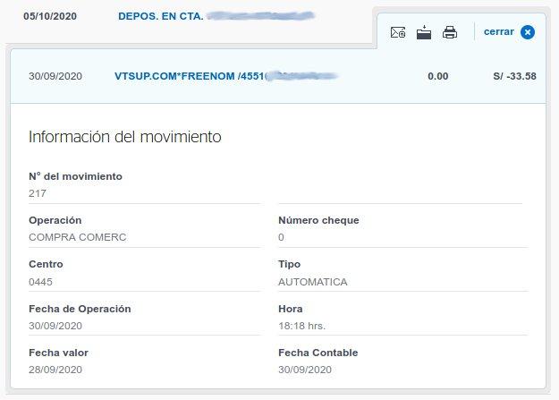 Confirmación de pago del BBVA a Freenom