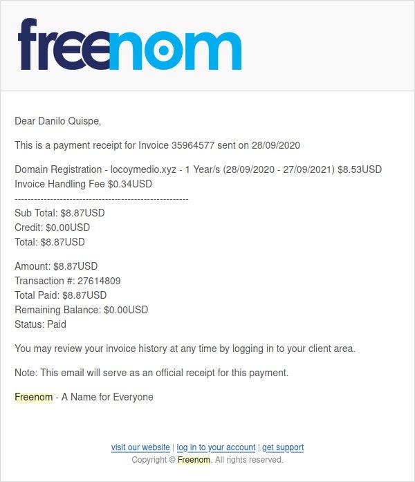 Confirmación de pago Freenom
